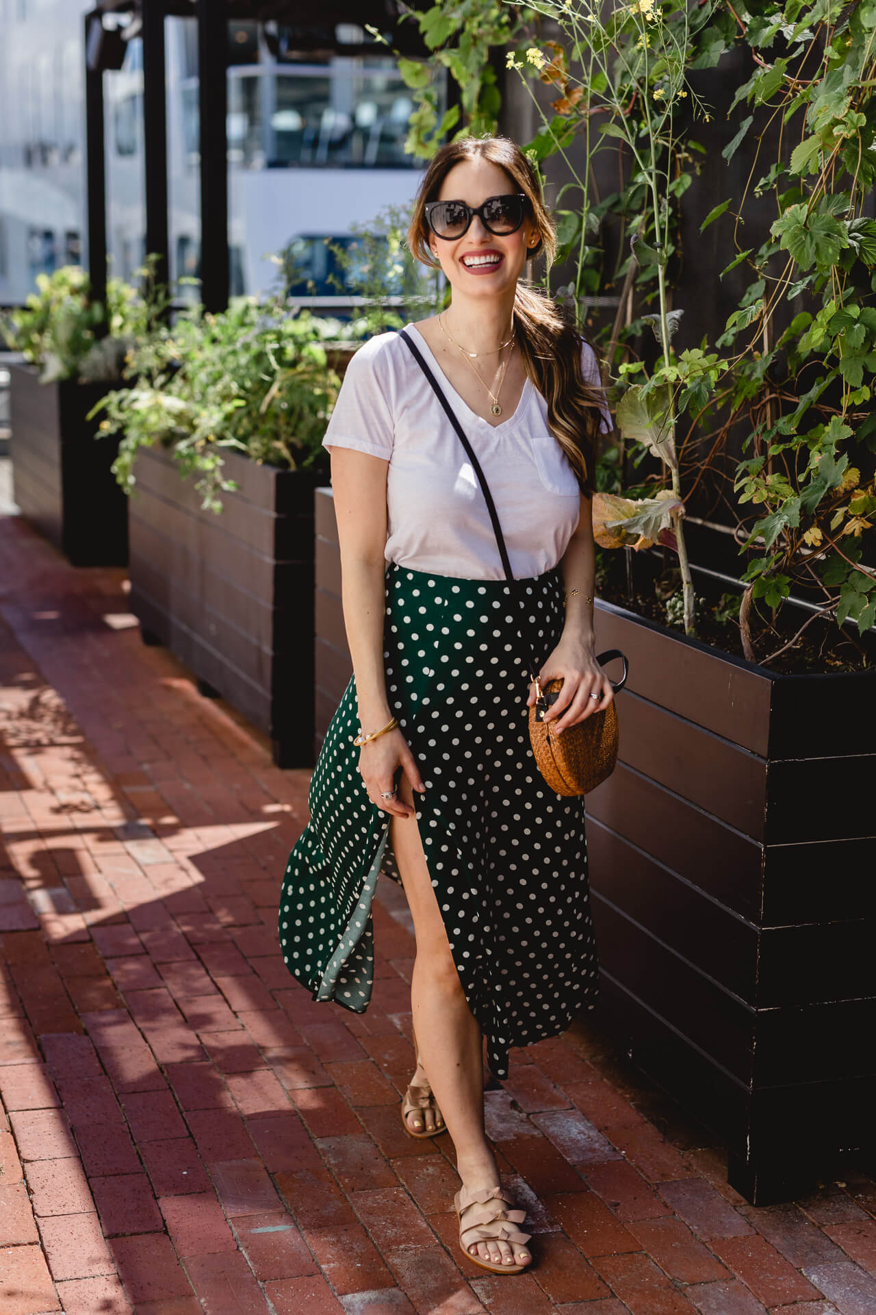A cute green Reformation skirt!