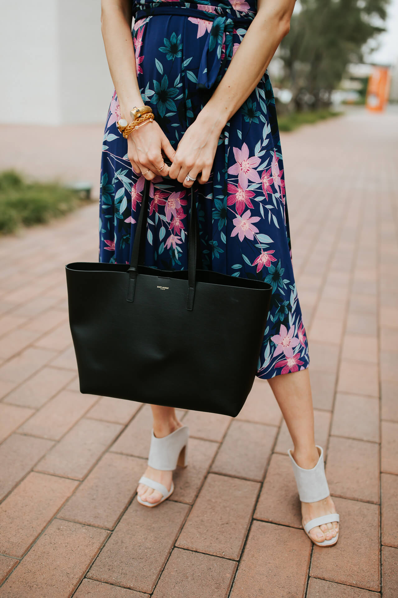 black tote with floral dress and mule sandals from 42 gold - M Loves M @marmar
