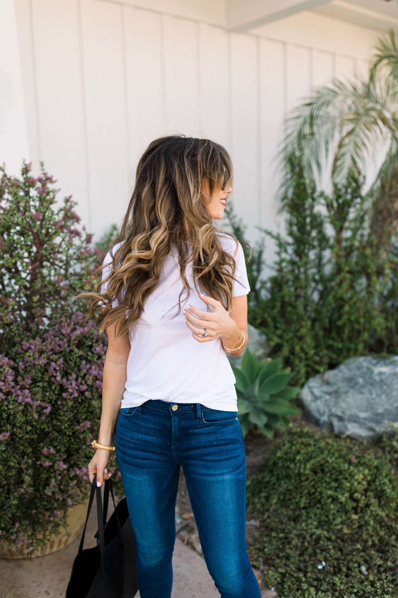 white tee with medium blue jeans - M Loves M Los Angeles and Orange County fashion and lifestyle blogger @marmar