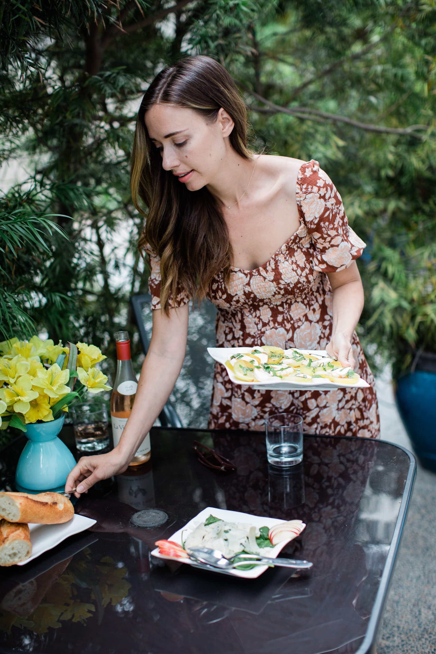 setting up for an outdoor happy hour in san diego and sharing a tip for buying groceries and making your life easier- M Loves M @marmar