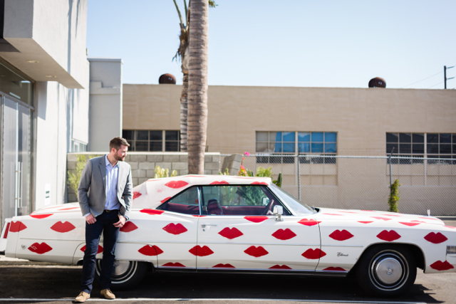 M Loves M shoot with 1974 lip print Cadillac @marmar