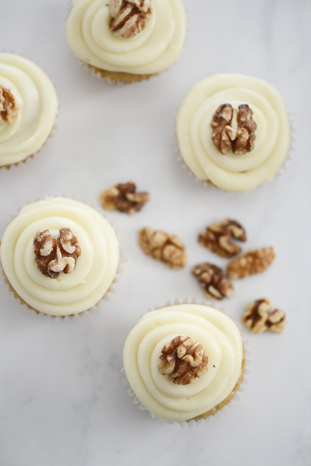 Maple Walnut Cupcakes with Maple Cream Cheese Frosting. These cupcakes will make your house smell amazing!