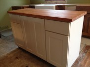 Our butcher block island (in white like my dream kitchern). The best part of the new kitchen.