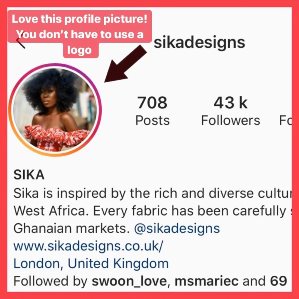 Sika Designs Instagram bio