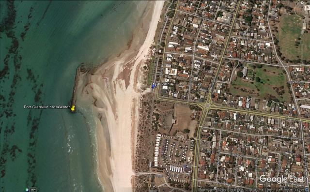 Map of Fort Glanville breakwater snorkeling site