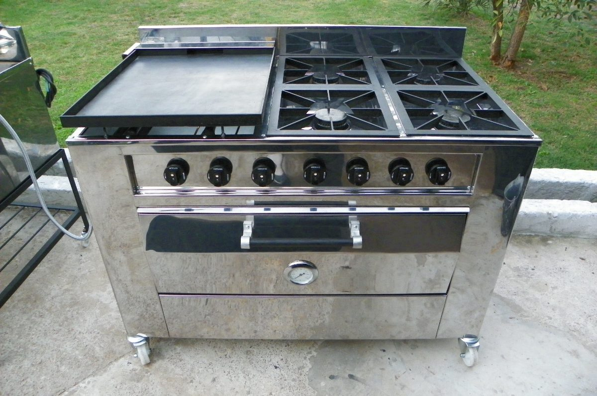 Cocina Industrial Gas 4 Hornallas Plancha Y Horno   48