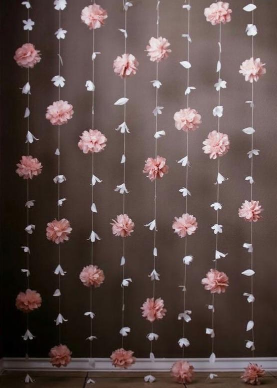 Cortina De Flores De Papel Background Decoracinfiestas
