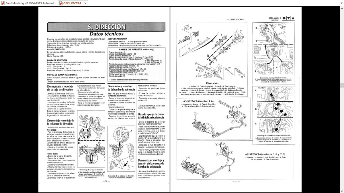 Manual Taller Opel Vectra B 1996 Español 1.6.1.8. 2.0
