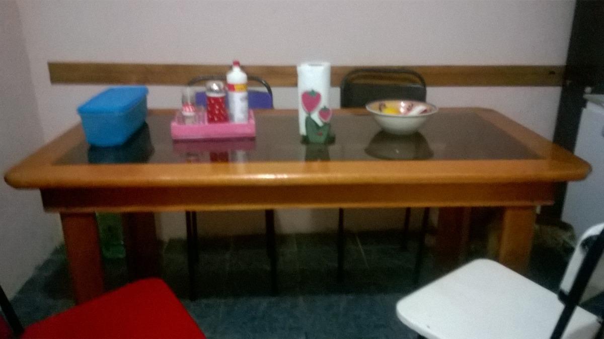 Mesa Para Comedor O Cocina Madera Dura Con Vidrio Templado