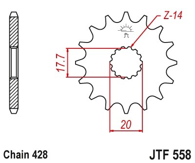 Piñón Transmisión Yamaha Dt125 Tzr125 Tdr125 89-03 Jtf558