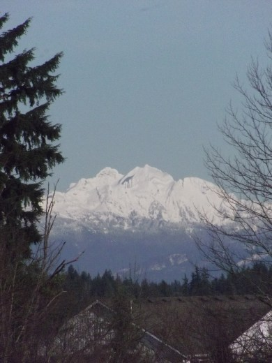 The North Cascades peaking through the grounds of Mountlake Terrace High School.