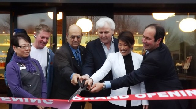 Cutting the ribbon for the new Gene Juarez Academy in Mountlake Terrace Wednesday morning were, from left, Councilmembers Matsumoto Wright & Seaun Richards, Mayor Jerry Smith, and Gene Juarez VP of Education Jerry Aher, Campus Director Mindy Mignogna and CEO Scott Missad.