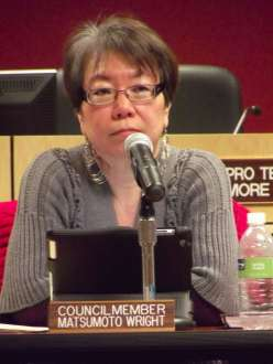 Councilmember Kyoko Matsumoto Wright speaks her mind at the council meeting.