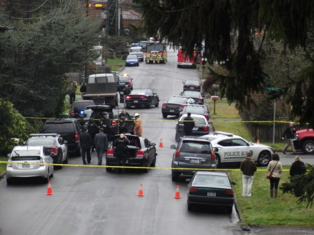 The scene at the police standoff Tuesday afternoon.