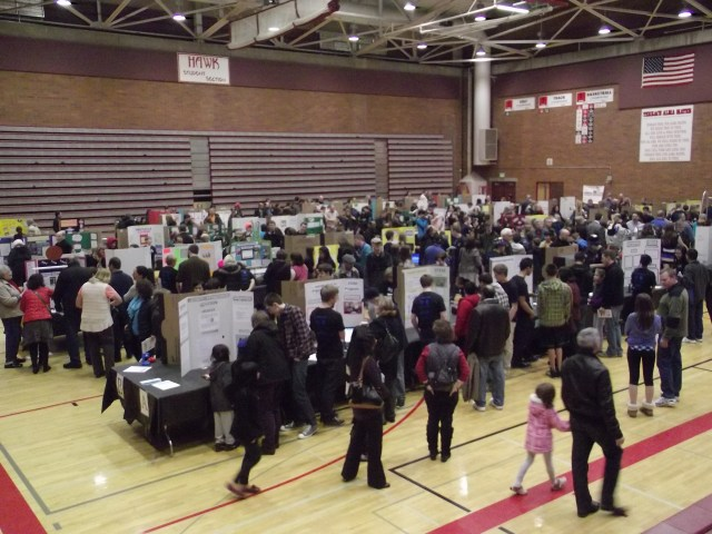 The MTHS gym was filled with STEM exhibits Wednesday night.