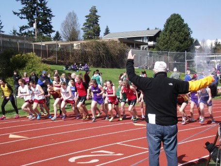The start of the girls 1500 meters.