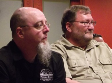 From left, Pat Ringe, Diamond Knot Chief Fermentation Officer and Bob Maphet, Diamond Knot President at Monday's meeting.