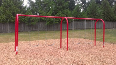 New swings make an appearance at Firefighters Memorial Park.