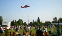 A Coast Guard helicopter lands at Brier Park at a previous National Night Out event (Photo courtesy of City of Brier)