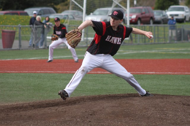 Dominic DeMiero pitching for the MTHS Hawks last spring