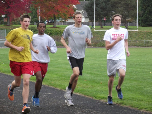 MTHS cross country runners Wednesday at a team practice, from left: Wyatt Allemann, Peter Kidane, Jack Pearce.