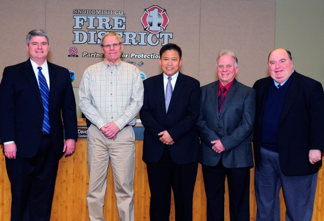 Fire District 1 Commissioners Jim Kenny, Bob Meador, David Chan, Jim McGaughy and Richard Schrock.