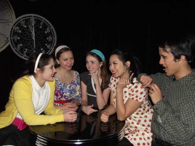 Members of the musical ensemble (left to right) Emily Davidson, Kathleen Cram, Mikayla French Danielle Hurano and Matt Sythandone.