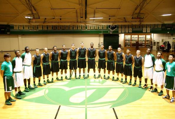 The 2013-2014 Highline Community College Thunderbirds; MTHS alum Ryan Swanstrom is No. 32, just left of the center court line.