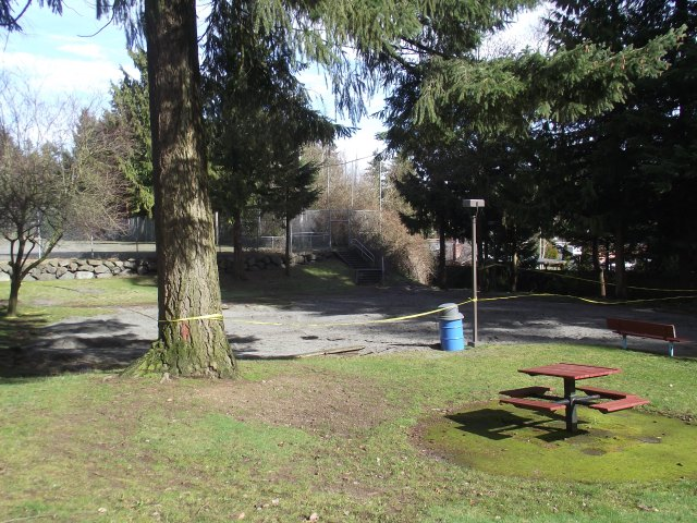 This photo shows where the old equipment was removed from Evergreen Playfield. It will be replaced with new equipment in mid- to late spring.
