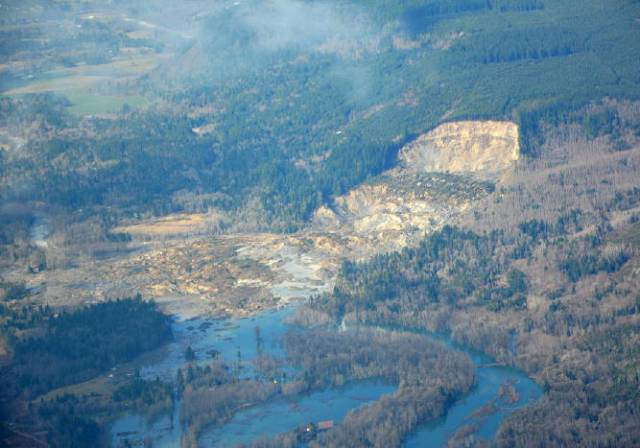 The Oso slide area. (Photo courtesy of Washington State Department of Transportation)