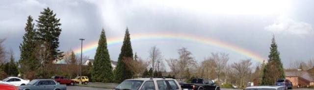 From Tammy Mangione Hemion,  a rainbow over Mountlake Terrace High School Tuesday afternoon.