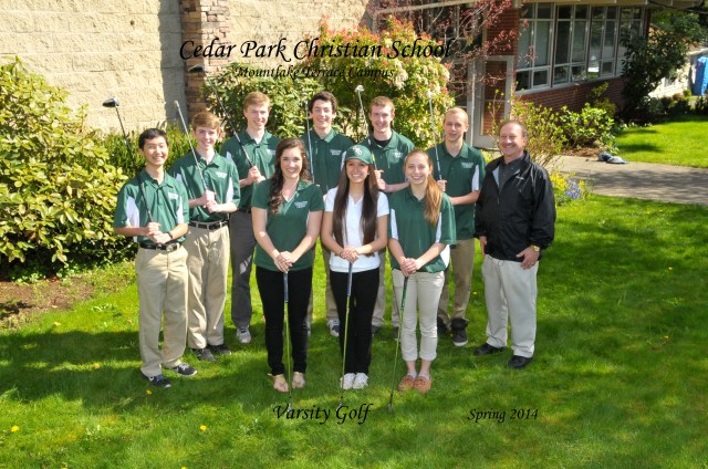 The 2014 Cedar Park Christian School – Mountlake Terrace boys and girls golf teams – back row (left to right): Trent Hashimoto, Dillon Wallace, Ben Reidy, Aaron Gillis, Zach Wallace, Alex Hudson, Coach Bill Kelley; front row (left to right): Lauren Gillis, Hannah Campbell, Connie Korenovsky (Photo courtesy of Longshots Photography)