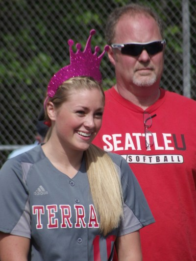 Maddy Kristjanson with dad Stan at the MTHS softball team's Senior Day celebration on May 12.
