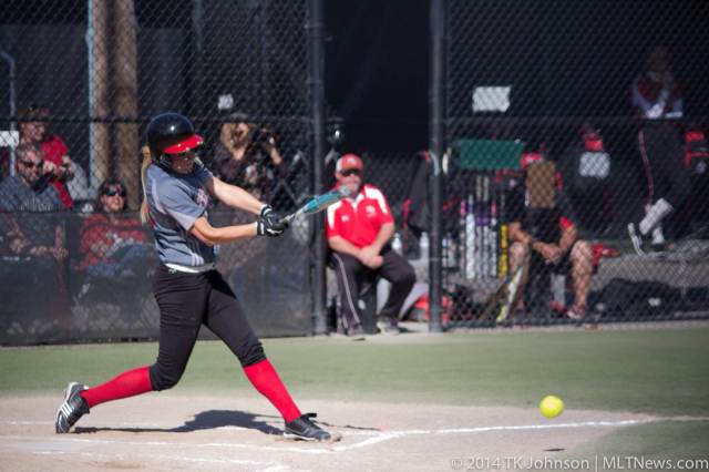Maddy Kristjanson at bat Tuesday. (Photo by TK Johnson)
