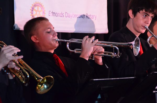 Nathan Rieber hits the high notes for the Mountlake Terrace High School Jazz Band.