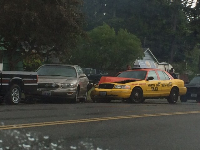 Wet roads may have contributed to a crash near the 228th Street SW and 56th Avenue West intersection in Mountlake Terrace early Sunday afternoon. No injuries were reported in the incident.