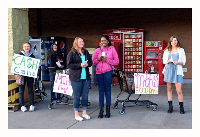 "Mountlake Terrace High School Key Club during a recent food drive. From left: Alea Nelson, Arani Yogendran, Elizabeth Kisler, Aarthi Yogendren and Eve Largent."" width=""1"" height=""1"" /> Mountlake Terrace High School Key Club during a recent food drive. From left: Alea Nelson, Arani Yogendran, Elizabeth Kisler, Aarthi Yogendren and Eve Largent."