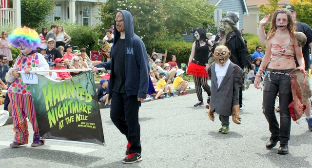 Parade watchers got a sneak peak of the upcoming Haunted House at the Nile Shrine Center in Mountlake Terrace.