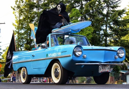 An amphitious car with a ghost rider on top. (Photo by David Carlos)