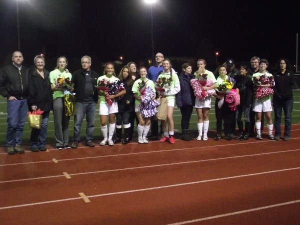 Seven seniors and their families were honored prior to the Terrace-Marysville-Getchell soccer match Wednesday night at Edmonds Stadium