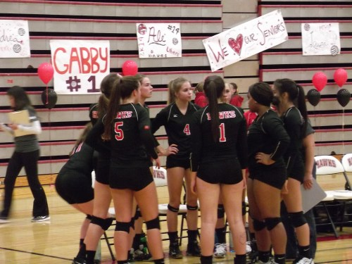 It was Senior Night for the Mountlake Terrace volleyball team.