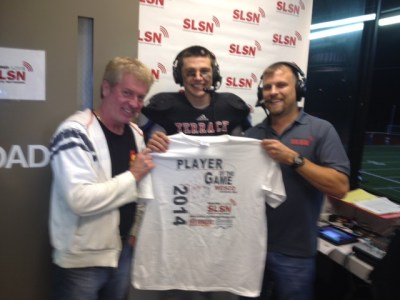 Seaun Richards showed up in the Sound Live Sports Network broadcast booth Friday night to help broadcaster Steve Willits present the Red Onion Burgers Player of the Game award to Ryan Lacasse, who scored five touchdowns in the Hawks' win over Lynnwood.