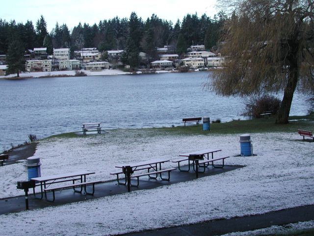 From the Mountlake Terrace side of Lake Ballinger, looking west toward Edmonds, a slight dusting of snow Saturday morning.