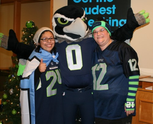 Jena Werren and Fabi Rojas (left) show their support for the Seahawks with Blitz.