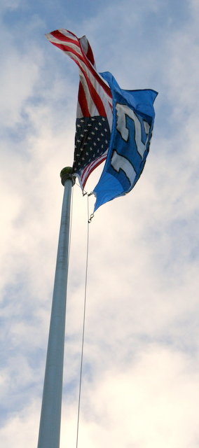 The 12th Man flag is flying.