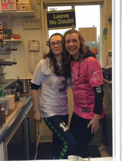 Kelly and Gabi at  Espresso Break are ready for the Super Bowl. They will close at 3 p.m. today. (Photo by David Carlos)