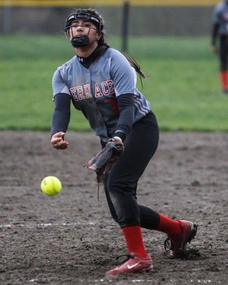 Mountlake Terrace's  Gabby Calhoun delivers a pitch during a non-conference game against Ferndale.