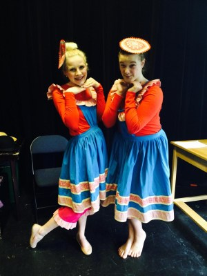 Amanda Petrowski (left), Mountlake Terrace, and Katie Dreessen, Lynnwood, adorn costumes they wear during the Kitsap Forest Theater production of Mary Poppins that opens on Sunday, May 24.