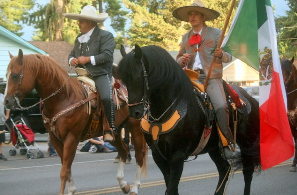 The horse review drew applause from parade watchers.