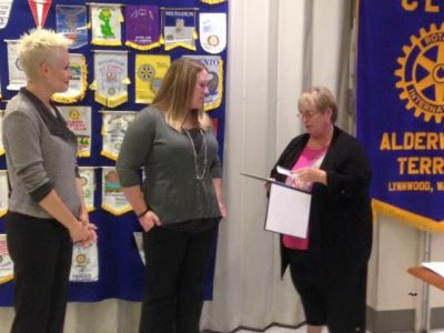Shannon Rassmussen was named the Alderwood Terrace Rotary Club's Educator of the Month. (Photo courtesy of Alderwood Terrace Rotary)